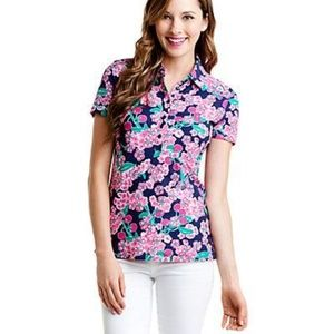 Lilly Pulitzer Trophy Polo Top Bright Navy Cherry